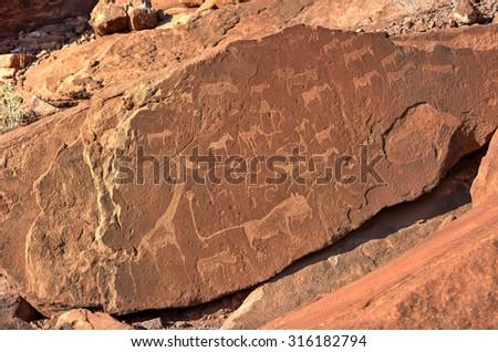 Bushman prehistoric rock engravings at the UNESCO World Heritage Center in Twyfelfontein, Namibia. - stock photo