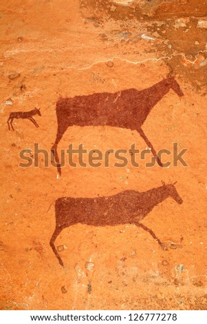 Bushmen (san) rock painting of antelopes, Drakensberg mountains, South Africa - stock photo