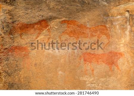 Bushmen (san) rock painting of antelopes, Karoo region, South Africa - stock photo