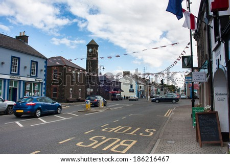 BUSHMILLS, NORTHERN IRELAND - AUGUST 17, 2012: Bushmills is classified as a village by the NI Statistics and Research Agency. On Census day 29 April 2001 there were 1,319 people living in Bushmills.
