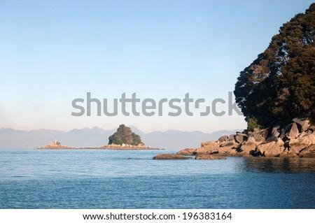 bushy island, Abel Tasman National Park, South Island, New Zealand - stock photo