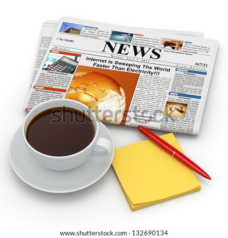 Busines morning concept. Coffee cup,  newspaper and reminder. 3d - stock photo