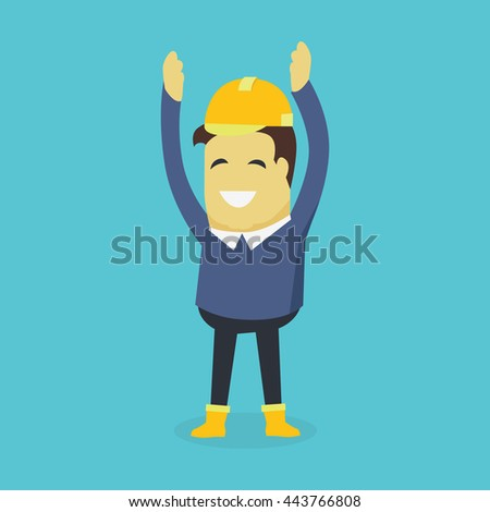 Businesman show holds hands up. Young successful investor man in helmet do business hand gesture shows good job. Approval of praise and agreement.  illustration - stock photo
