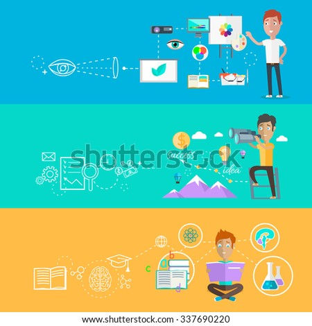 Business ability of visualize learning. Finding opportunities, professional learn and development, skill and motivation, vision strategy person creative man illustration in flat design. Raster version - stock photo