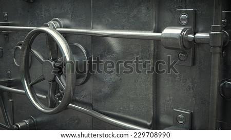 Business abstract background. Door of a Vintage Locked Safe in a Bank Vault Retail Security. High resolution 3d  - stock photo
