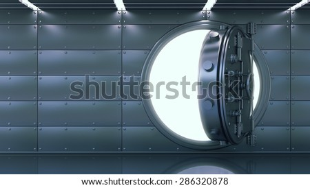 Business abstract background. Door of a Vintage Locked Safe in a Bank Vault Retail Security. High resolution 3d