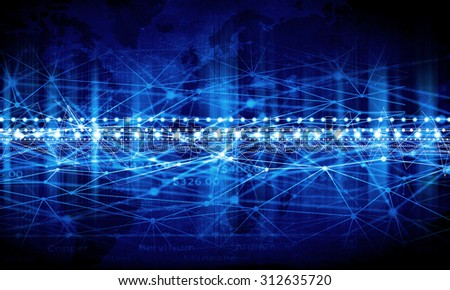 Business abstract image with high tech graphs and binary code - stock photo