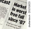 Business Abstract - newspaper headlines about Wall Street - stock photo