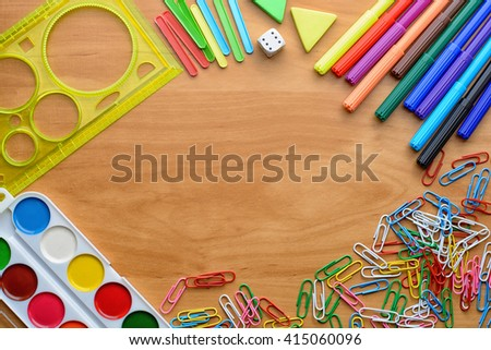 colorful office accessories. Business Accessories And Colorful Office Supplies (notebooks, Pens, Markers, Crayons, Paints