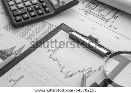 Business accessories, laptop, mobile phone, notebook on wooden office desk