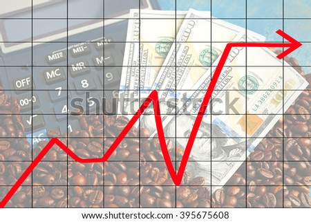 Business accounting concept. Coffee beans and US dollar banknotes and calculator, close-up