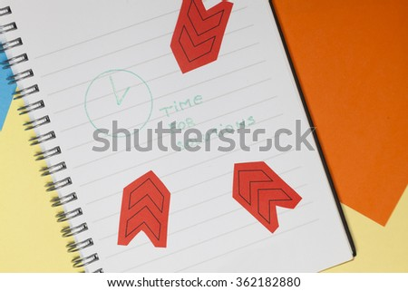 Business actions for success. Writing on paper. Blue background