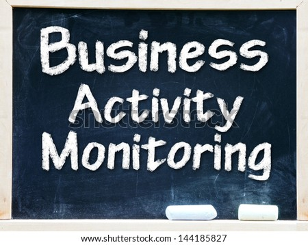 Business Activity Monitoring Intelligence handwritten with white chalk on a blackboard