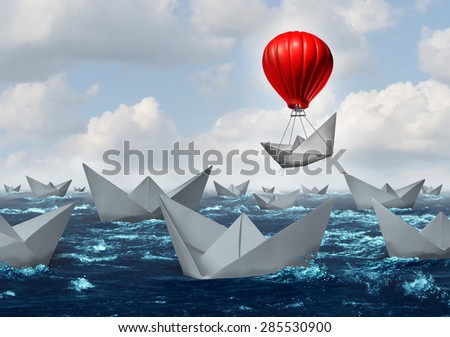 Business advantage concept and game changer symbol as an ocean with a crowd of paper boats and one boat rises above the rest with a red balloon as a success and innovation metaphor for new thinking. - stock photo