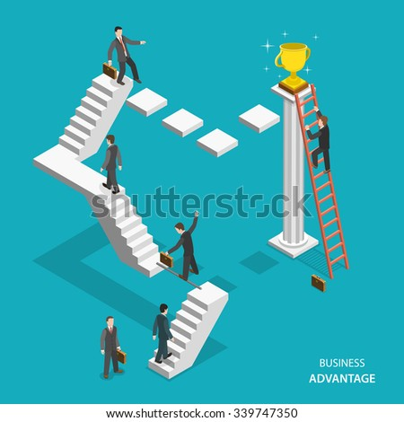 Business advantage isometric flat concept. Businessmen are trying to get the winner cup, and only the one of them has red ladder to get it fastest. Innovative thinking, leadership. - stock photo