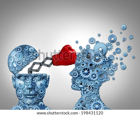 Business advantage secret weapon concept as a group of gears shaped as a human head punching and destroying the competition with a hidden red boxing glove as a metaphor for innovative strategy. - stock photo