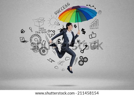 Business agent running to chase her aim for success - stock photo