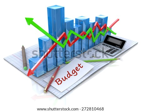 Business analysis, calculation of the budget  - stock photo