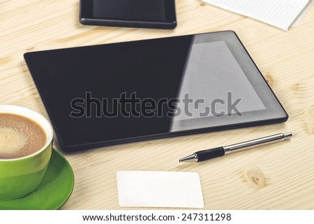 Business Analysis, Digital Tablet with Blank Screen Copy Space on Wooden Office Table - stock photo