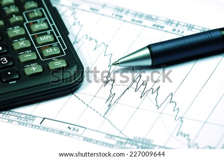 Business Analysis with graphic chart on the white background