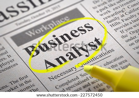 Business Analyst Vacancy in Newspaper. Job Search Concept.