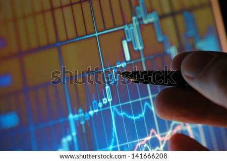 Business analyze - close up on computer screen - stock photo
