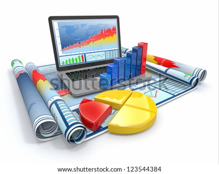 Business analyze. Laptop, graph and diagram. 3d - stock photo