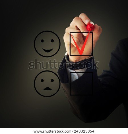 Business and advertisement concept. Close up of businessman checking happy face box - stock photo