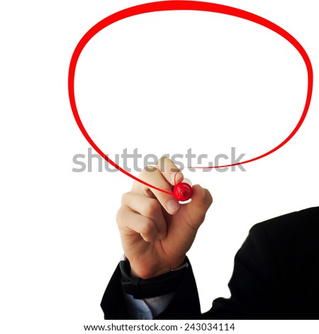 Business and advertisement concept. Close up of businessman drawing a chat bubble - stock photo