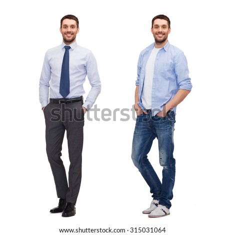 business and casual clothing concept - same man in different style clothes - stock photo