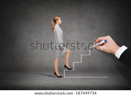 business and education concept - businesswoman stepping up staricase - stock photo