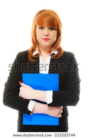 Business and education concept. Redhair woman holding blue clipboard and pen. Isolated on white background