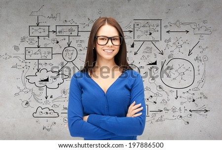 business and education concept - smiling businesswoman, teacher or student in glasses with big plan on the back - stock photo