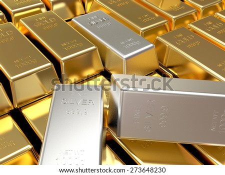 Business and finance background. Stacks of golden and silver bars - stock photo