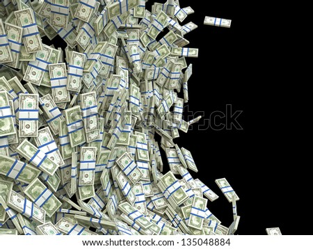Business and finance concept: bunches of US dollars isolated on black - stock photo