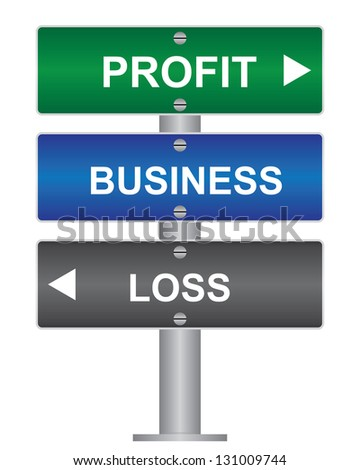 Business and Finance Concept Present By Green, Blue and Gray Street Sign Pointing to Profit, Business and Loss Isolated On White Background