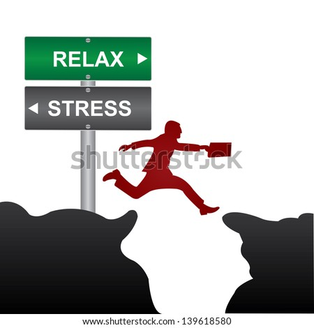 Business and Finance Concept Present By Jumping Through The Valley Gap With Green and Gray Street Sign Pointing to Relax and Stress Isolate on White Background - stock photo