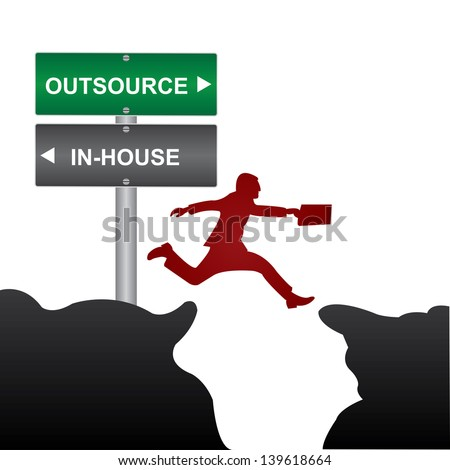 Business and Finance Concept Present By Jumping Through The Valley Gap With Green and Gray Street Sign Pointing to Outsource and In-House Isolate on White Background - stock photo