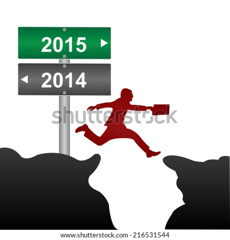 Business and Finance Concept Present By Jumping Through The Valley Gap With Green and Gray Street Sign Pointing to 2014 and 2015 Isolate on White Background  - stock photo