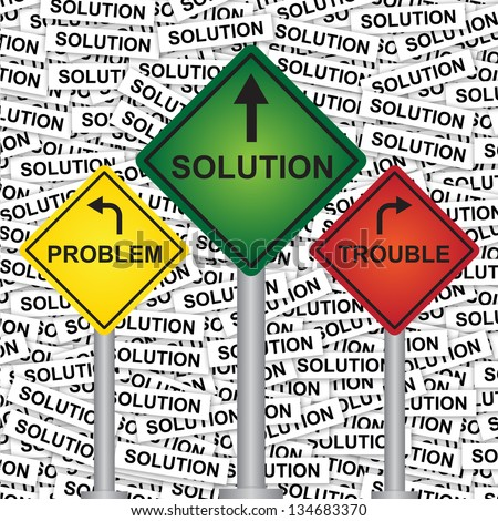 Business and Finance Concept Present By Rhombus Yellow, Green and Red Street Sign Pointing to Problem, Solution and Trouble in Solution Label Background - stock photo