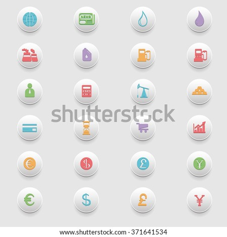 Business and Finance Flat Colorful Icons Set. Digital background raster illustration badges on gray backdrop. - stock photo