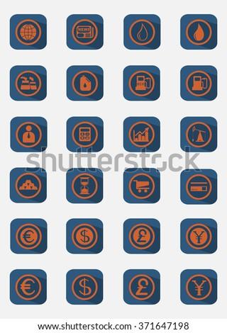 Business and Finance Flat Icons Set. Digital background raster illustration on white backdrop. - stock photo