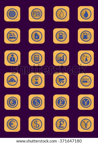 Business and Finance Flat Icons Set. Digital raster currency symbols on dark backdrop. - stock photo