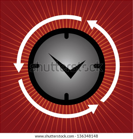 Business and Finance or Time Management Concept Present By Clock With Arrow Around in Red Shiny Background - stock photo