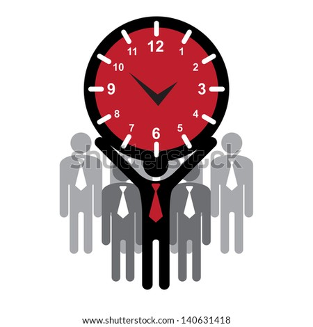 Business and Finance or Time Management Concept Present By Group of Businessman With Red Clock or Time Sign on Hand Isolated on White Background - stock photo