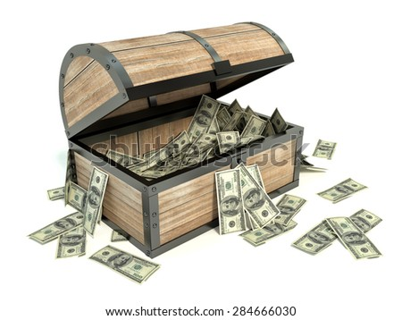 Business and Financial Concept. Chest and bunch of dollars - stock photo