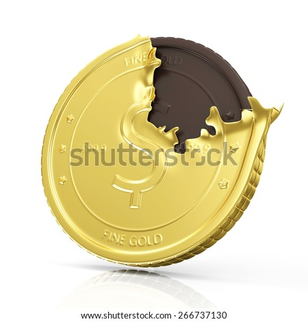 Business and Financial Concept. Golden Coin with Chocolate Coin Isolated on white reflective background - stock photo