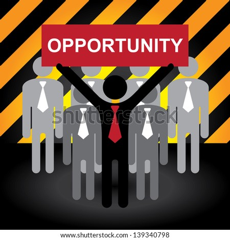 Business and Financial Concept Present By Group of Businessman With Red Opportunity Sign on Hand in Caution Zone Dark and Yellow Background - stock photo