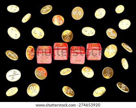 """Business and financial concept. Red cubes with the word """"Sale"""" and golden coins with percent sign isolated on black background     - stock photo"""