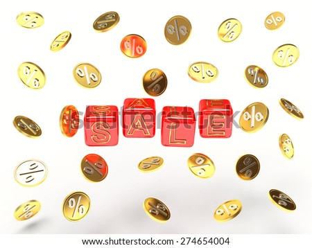 "Business and financial concept. Red cubes with the word ""Sale"" and golden coins with percent sign isolated on white background     - stock photo"
